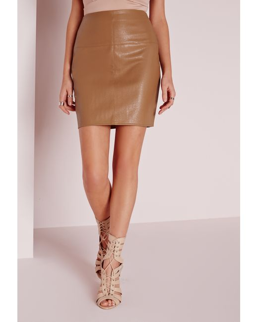 missguided faux leather mini skirt in camel in brown lyst