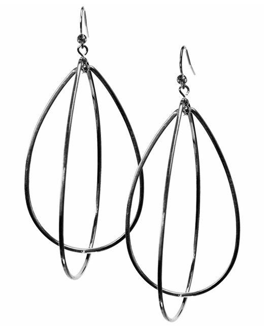 Guess | Metallic Earrings, Silver-tone Teardrop Hoop | Lyst