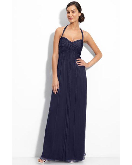 Amsale | Blue Chiffon Halter Gown | Lyst