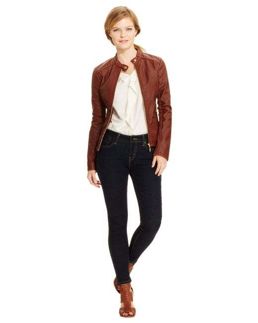 Ivanka trump Faux-leather Moto Jacket in Brown (Luggage) - Save 25% ...