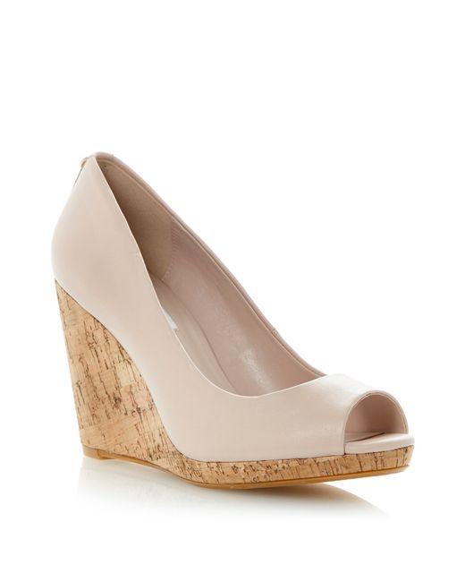 dune celia leather peeptoe wedge court shoes in pink