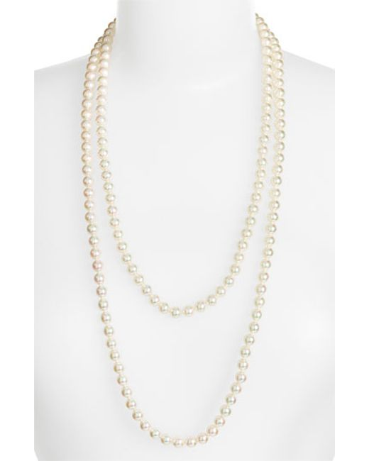 Majorica | White 7mm Round Pearl Endless Rope Necklace | Lyst
