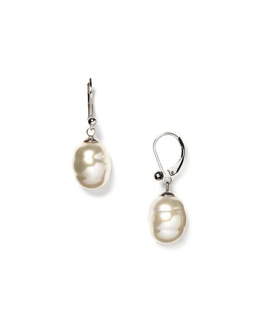 Majorica | White Baroque Simulated Pearl Drop Earrings | Lyst