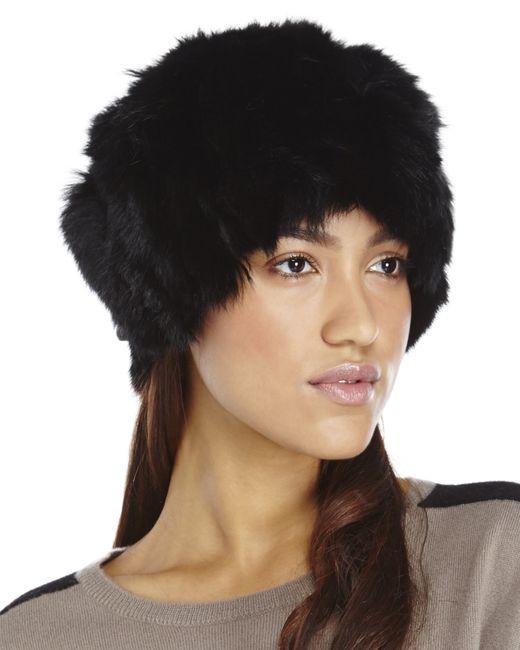 Adrienne Landau | Black Textured Rabbit-fur Hat | Lyst