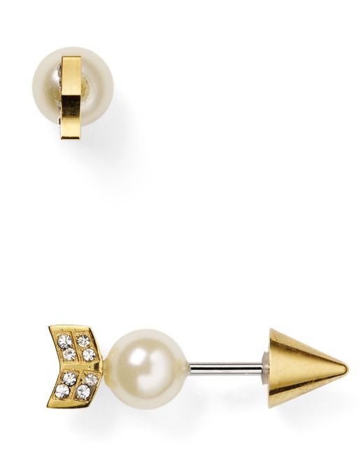 Rebecca Minkoff | Metallic Faux Pearl Arrow Front-back Earrings | Lyst