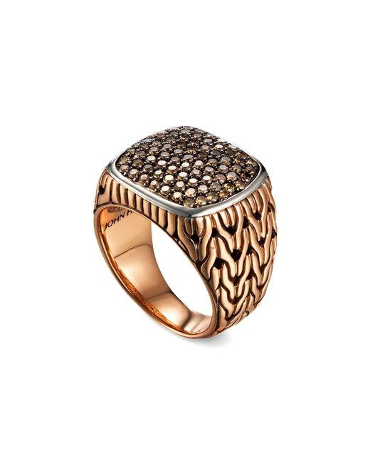 John Hardy   Metallic Men's Classic Chain Silver/bronze Ring With Diamonds for Men   Lyst