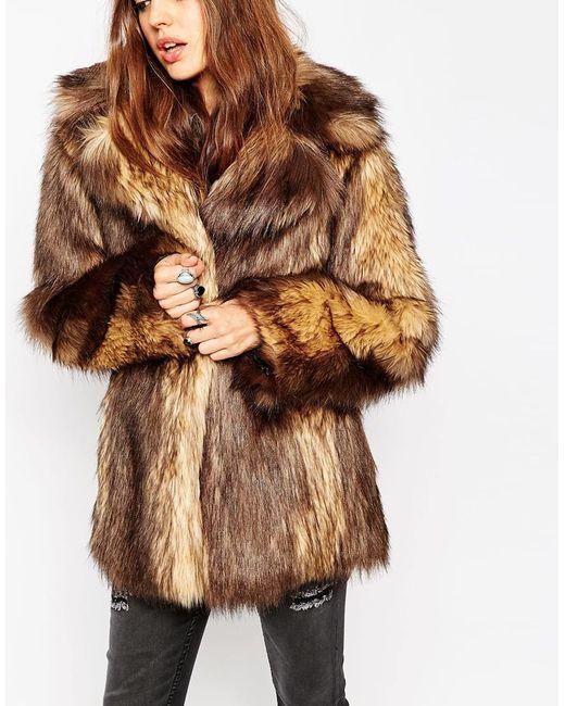 Asos Vintage Faux Fur Coat In Brown Save 30 Lyst
