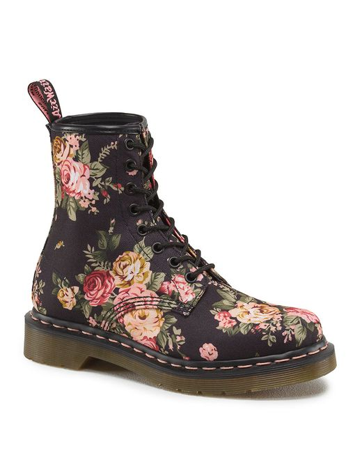 Dr Martens 1460 W Floral Printed Boots In Black Lyst