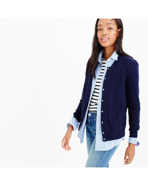 J.Crew | Blue Cambridge Cable Cardigan Sweater | Lyst
