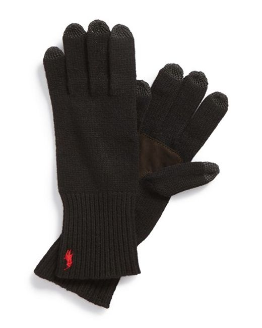 Polo Ralph Lauren | Black Merino Wool Tech Gloves for Men | Lyst