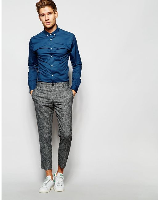 Asos skinny shirt in teal with button down collar in teal for Mens teal button down shirt