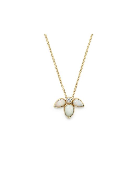 Zoe Chicco | White 14k Gold Opal And Diamond Starburst Necklace, 16"