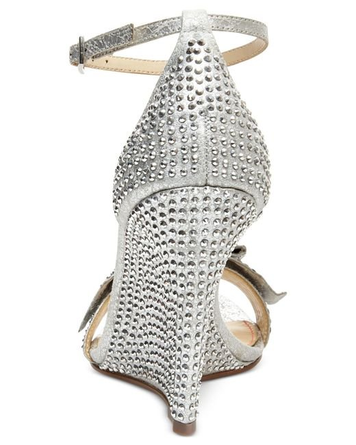 Betsey Johnson | Metallic Delancyy Wedge Evening Sandals | Lyst