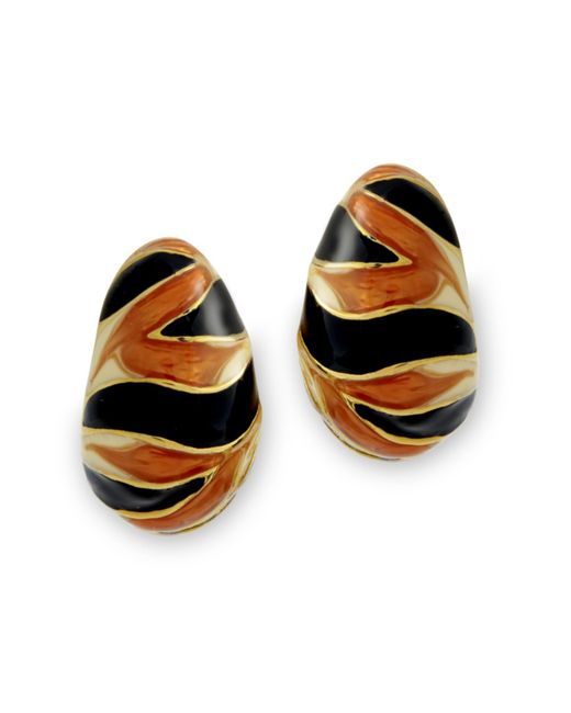 Kenneth Jay Lane | Multicolor Tiger Stripe Clip Earring | Lyst