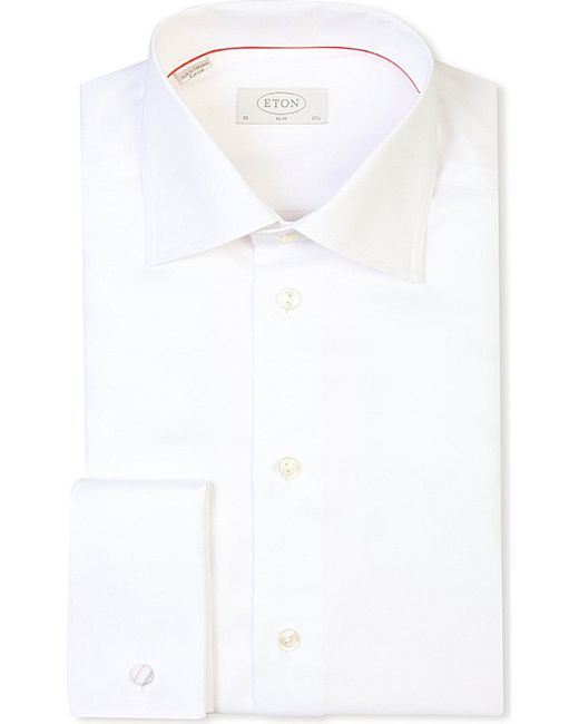 Eton of sweden slim fit french cuff cotton twill shirt in White french cuff shirt slim fit