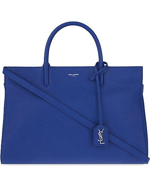Saint Laurent | Blue Cabas Rive Gauche Grained Leather Tote | Lyst