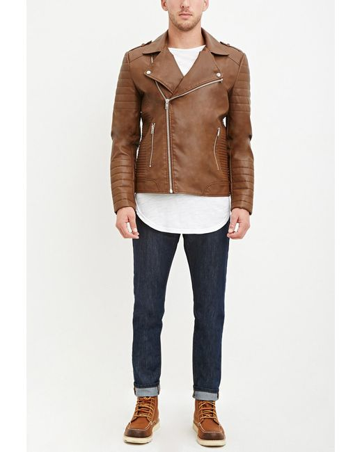 Forever 21 | Brown Quilted Faux Leather Jacket for Men | Lyst