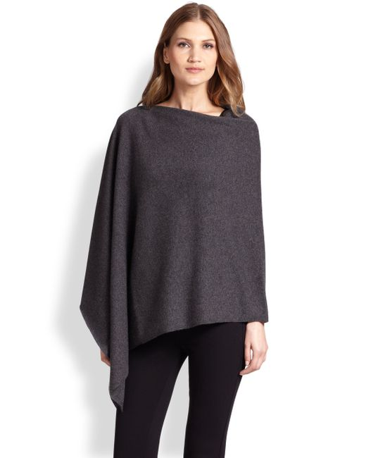 Saks Fifth Avenue | Gray Cashmere Poncho | Lyst