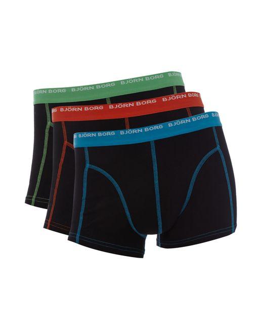 Björn Borg | Black 3 Pack Contrast Stitch Underwear Trunk for Men | Lyst