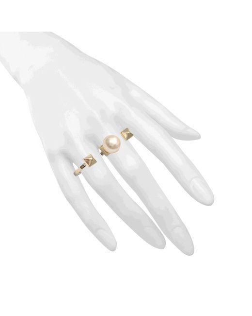 Valentino | Metallic Rockstud Pearl Double Ring | Lyst