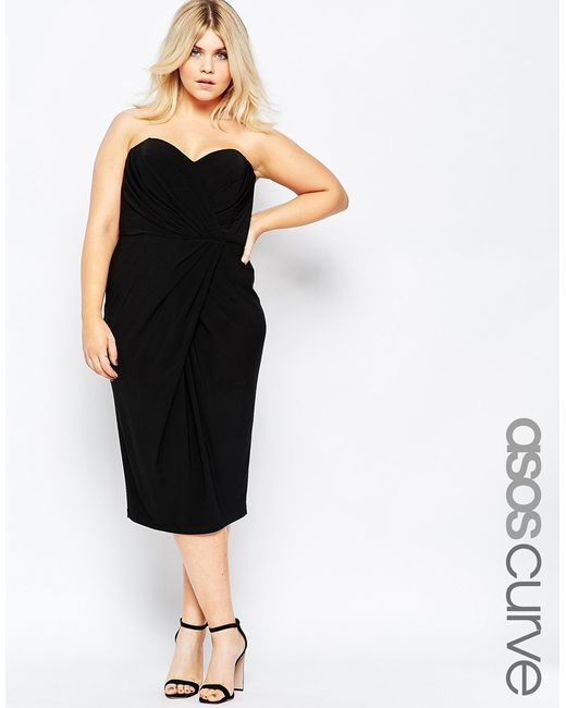 Asymmetric Drape Dress: Asos Drape Asymmetric Hem Twist Bandeau Dress In Black