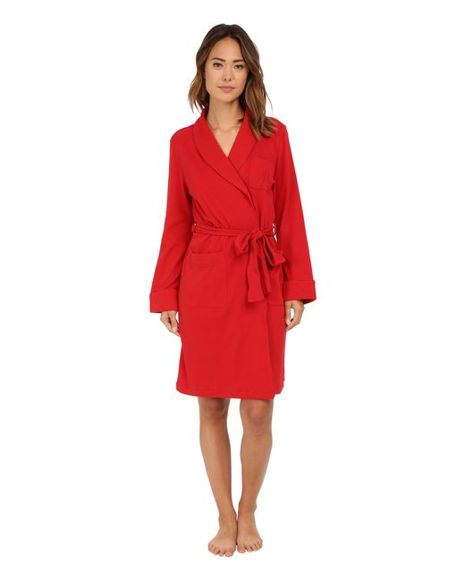 Lauren by Ralph Lauren | Red Essentials Quilted Collar And Cuff Robe | Lyst