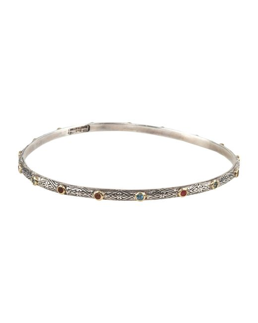 Konstantino | Metallic Classics 18k Yellow Gold & Sterling Silver Etched Dot Bangle Bracelet | Lyst