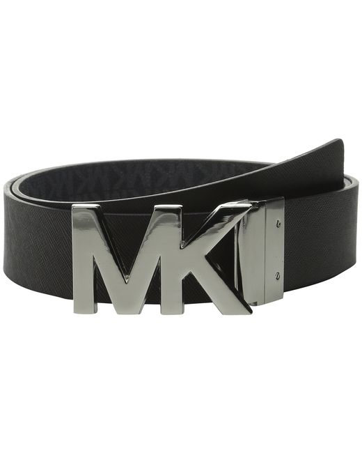 michael michael kors 38mm reversible logo pvc to saffiano on mk plaque buckle belt in black. Black Bedroom Furniture Sets. Home Design Ideas