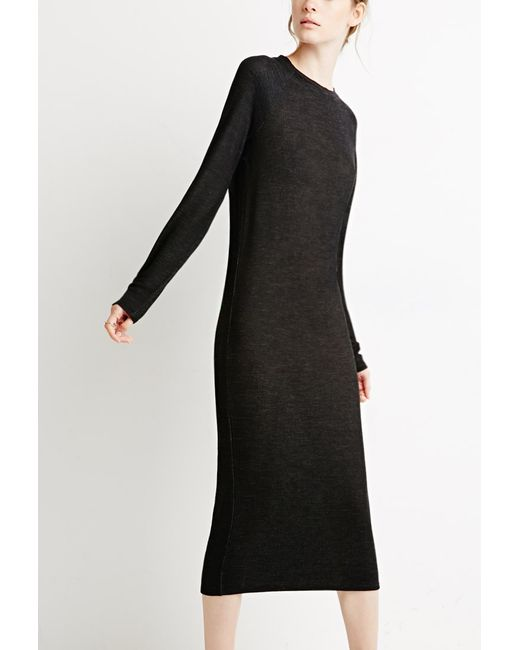 Forever 21 | Black Heathered Knit Midi Dress | Lyst