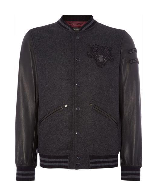 Diesel L Danny Zip Up Leather Baseball Jacket In Black For