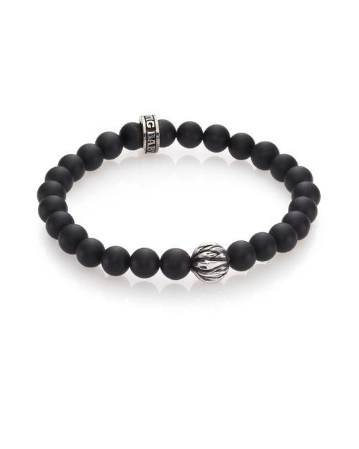 King Baby Studio | Black Onyx & Silver Feather Beaded Bracelet for Men | Lyst