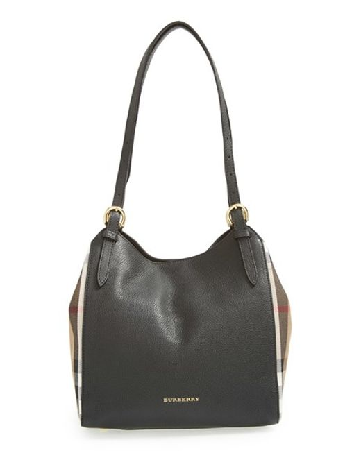 Burberry | Black 'small Canterbury' House Check & Leather Tote | Lyst