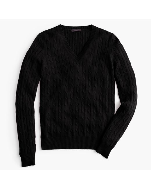 J.Crew | Black Cambridge Cable V-neck Sweater | Lyst