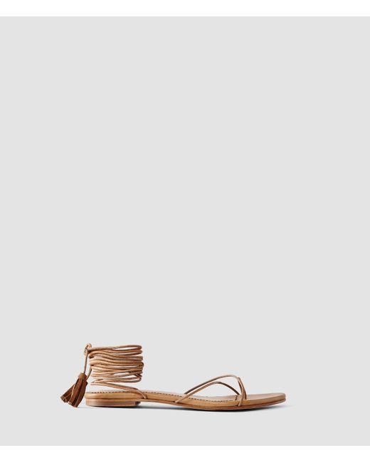 AllSaints | Brown Dorica Flat Sandal | Lyst