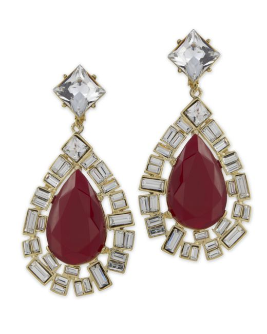 Kenneth Jay Lane | Red Opal Teardrop Clip Earring | Lyst