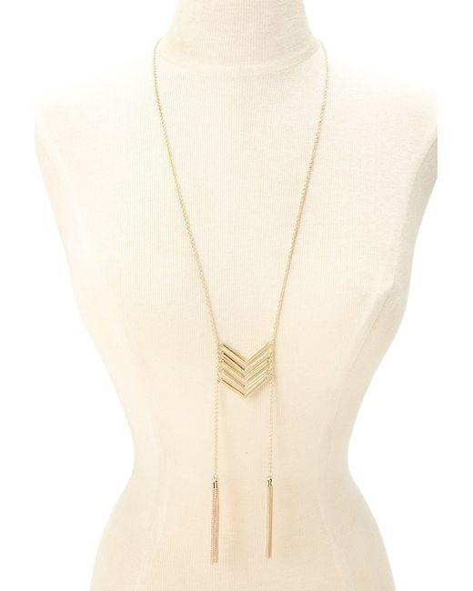 Forever 21 | Metallic Chevron Tasseled Necklace | Lyst