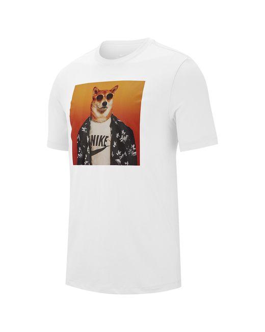 Nike White Menswear Dog T-shirt for men