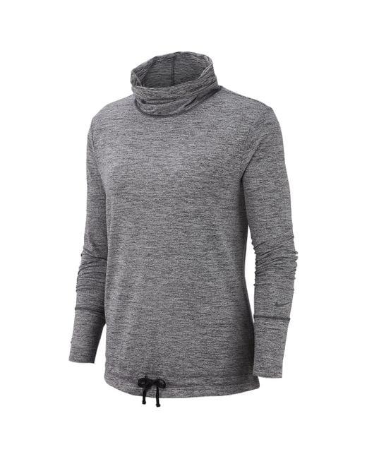 Nike Gray Yoga Funnel-neck Top