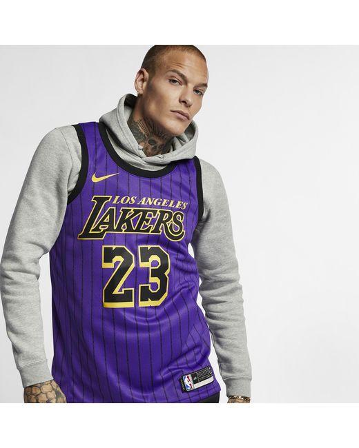 quality design 50e9c 8dcd2 Men's Purple Lebron James Los Angeles Lakers City Swingman Jersey 2018