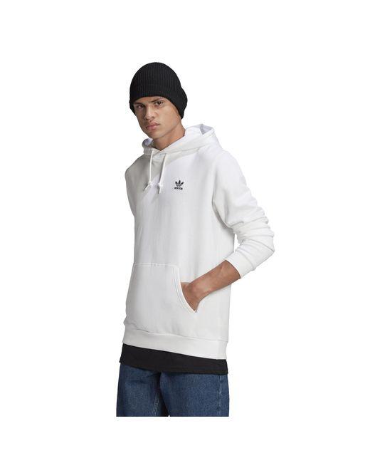 Adidas Originals White Essential Hoodie for men