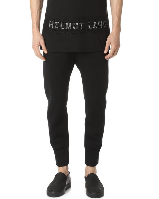 Helmut Lang | Black Sponge Fleece Curved Leg Track Pants for Men | Lyst