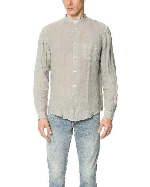 Hartford Band Collar Linen Shirt In Gray For Men Frost