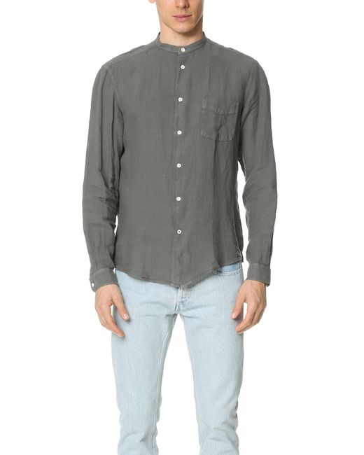 Hartford Band Collar Linen Shirt In Gray For Men Grey