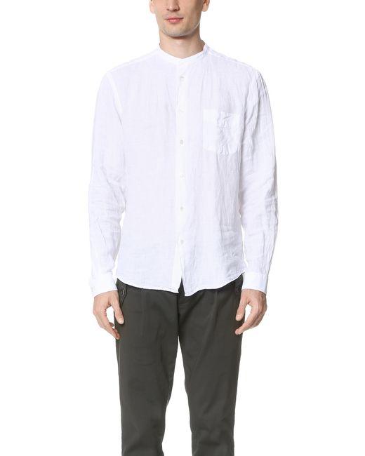 Hartford Band Collar Linen Shirt In White For Men Lyst