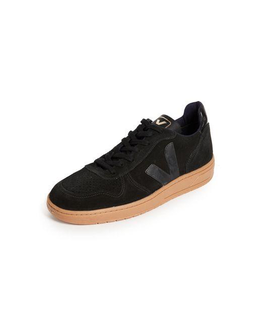 Veja Black V-10 Suede Sneakers for men