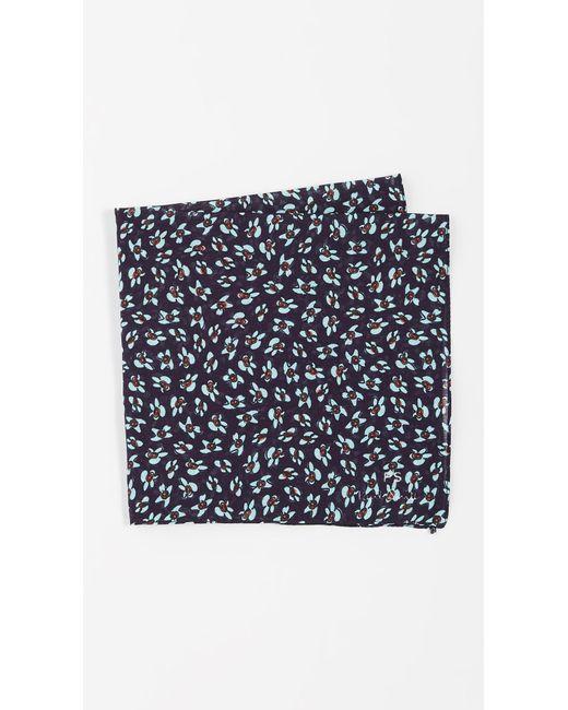 Paul Smith Blue Flower Print Pocket Square for men