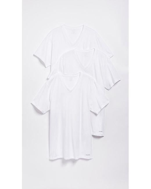 Calvin Klein - White 3 Pack Cotton Classic V-neck T-shirts for Men - Lyst