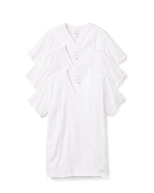 CALVIN KLEIN 205W39NYC - White 3 Pack Cotton Classic V-neck T-shirts for Men - Lyst