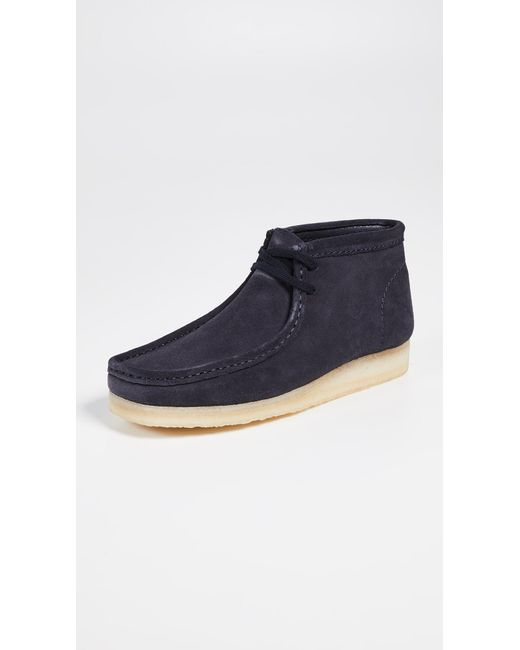 Clarks - Blue Suede Wallabee Boots for Men - Lyst
