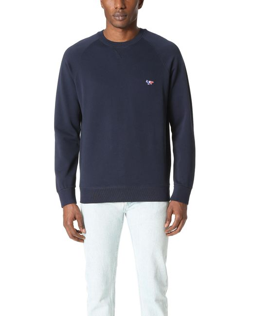 Maison Kitsuné Blue Tricolor Fox Patch Sweatshirt for men